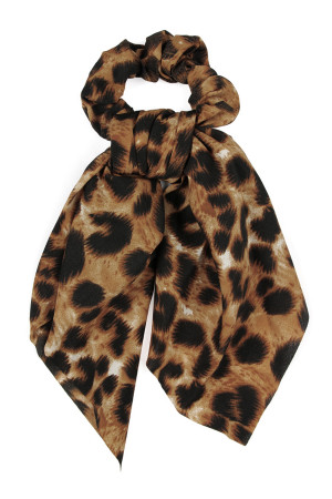 A2-1-2-AHDH2372LBR LEOPARD BROWN SCARF SCRUNCHIES HAIR BAND/6PCS