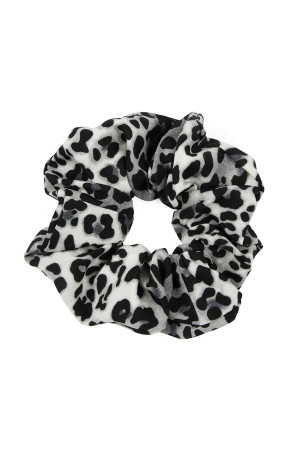 A2-1-2-AHDH2374BK BLACK LEOPARD SCRUNCHIES HAIR TIE/6PCS