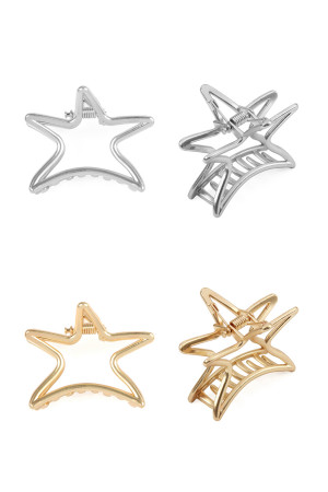S6-5-1-AHDH2377MIX GOLD SILVER CAST STAR HAIR CLIP /12PCS