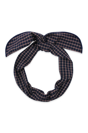 S4-6-4-AHDH2448BK BLACK PLAID WIRE SCARF HEADBAND/6PCS