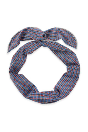 S4-6-4-AHDH2448BL BLUE PLAID WIRE SCARF HEADBAND/6PCS