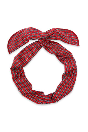 S4-6-4-AHDH2448RD RED PLAID WIRE SCARF HEADBAND/6PCS