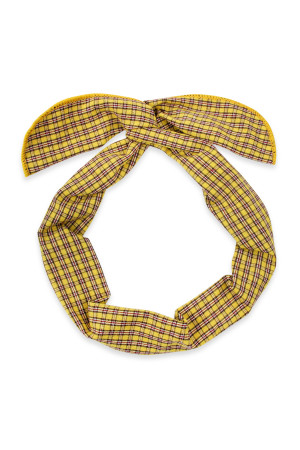 S5-5-5-AHDH2448YW YELLOW PLAID WIRE SCARF HEADBAND/6PCS