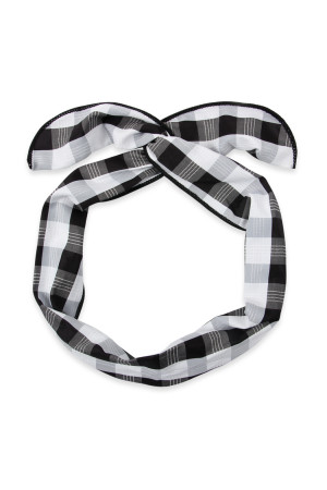 SA3-3-1-AHDH2450BK BLACK PLAID HAND WRAP HEADBAND/6PCS
