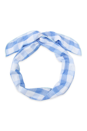SA4-2-2-AHDH2450BL BLUE PLAID HAND WRAP HEADBAND/6PCS