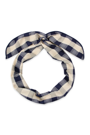 SA3-3-1-AHDH2450NV NAVY PLAID HAND WRAP HEADBAND/6PCS