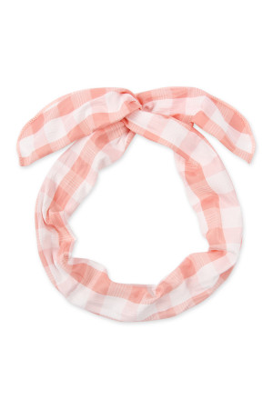 SA4-2-2-AHDH2450PK PINK PLAID HAND WRAP HEADBAND/6PCS