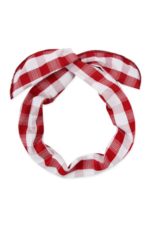 A2-2-3-AHDH2450RD RED PLAID HAND WRAP HEADBAND/6PCS