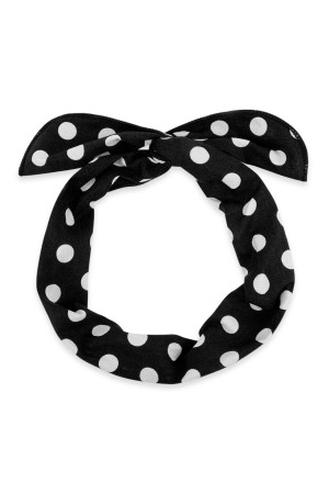 S4-6-4-AHDH2451BK BLACK POLKA DOTS WRAP HEADBAND/6PCS