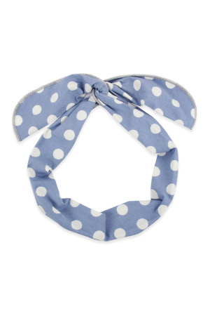 S5-5-5-AHDH2451BL BLUE POLKA DOTS WRAP HEADBAND/6PCS