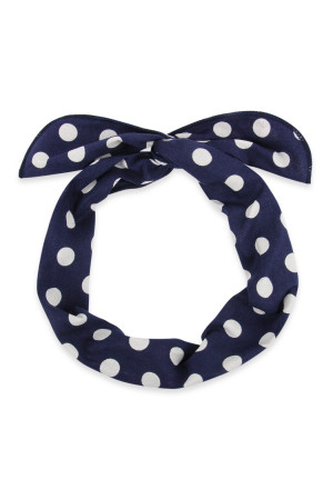 S5-5-5-AHDH2451NV NAVY POLKA DOTS WRAP HEADBAND/6PCS