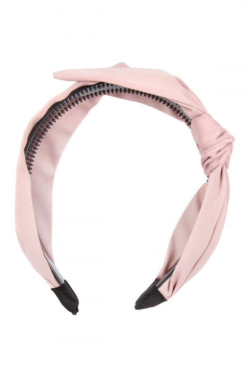 S7-6-1-AHDH2543LPK LIGHT PINK KNOTTED CLOTHED HAIR BAND/6PCS