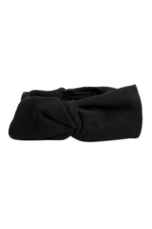 S4-5-5-AHDH2545BK BLACK RIBBON FABRIC HAIR BAND/6PCS