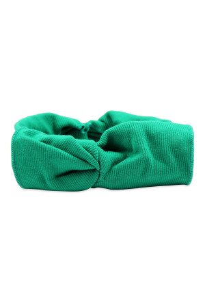 S4-5-5-AHDH2545DGR DARK GREEN RIBBON FABRIC HAIR BAND/6PCS