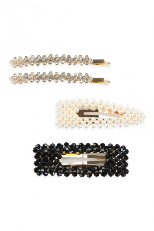 A3-3-2-AHDH2623BK BLACK GLASS BEADS AND PEARL HAIR PIN SETS/6SETS