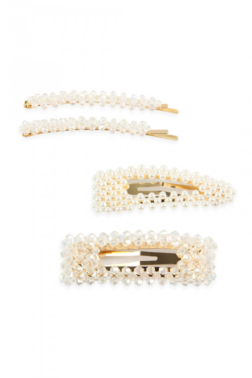 A3-3-2-AHDH2623CRY CRYSTAL GLASS BEADS AND PEARL  HAIR PIN SETS/6SETS