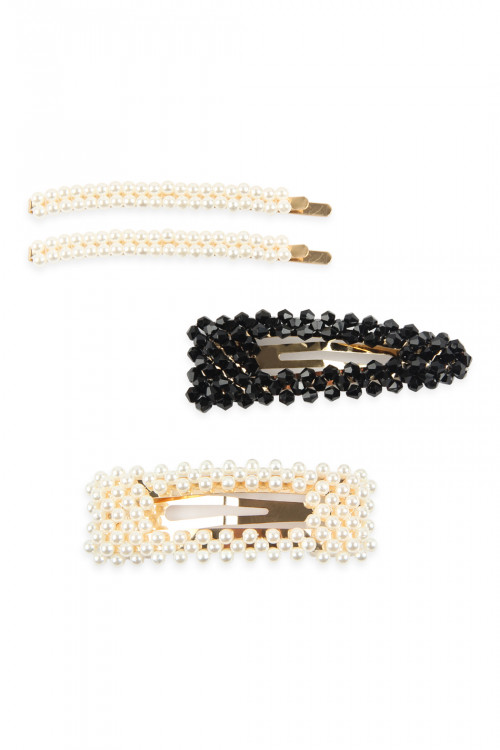 A2-3-3-AHDH2624BK BLACK PEARL AND GLASS BEADS HAIR PIN SET/6SETS