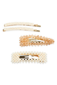 A2-3-2-AHDH2624TP TAUPE PEARL AND GLASS BEADS HAIR PIN SET/6SETS