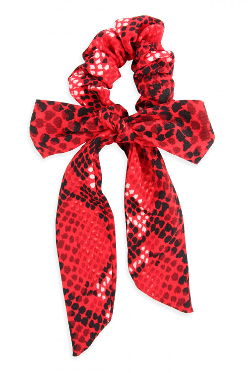 A3-3-1-AHDH2625RD RED SNAKE SKIN PRINTED FABRIC RIBBON HAIR CRUNCHIES/6PCS