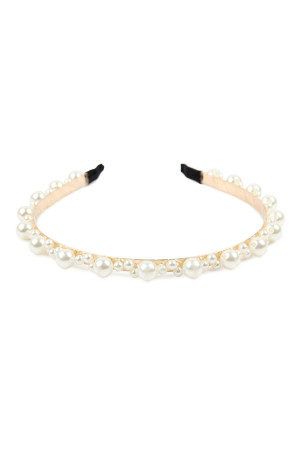 A1-3-3-AHDH2628NA NATURAL STITCHED PEARL HEADBAND/6PCS