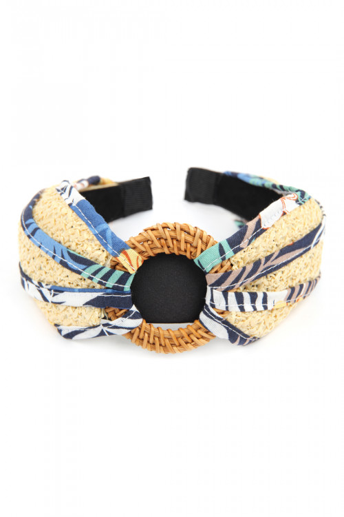 A3-3-2-AHDH2631BL BLUE KNOTTED RAFFIA WITH FABRIC HEADBAND/6PCS