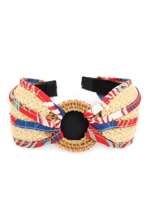 A3-3-2-AHDH2631RD RED KNOTTED RAFFIA WITH FABRIC HEADBAND/6PCS
