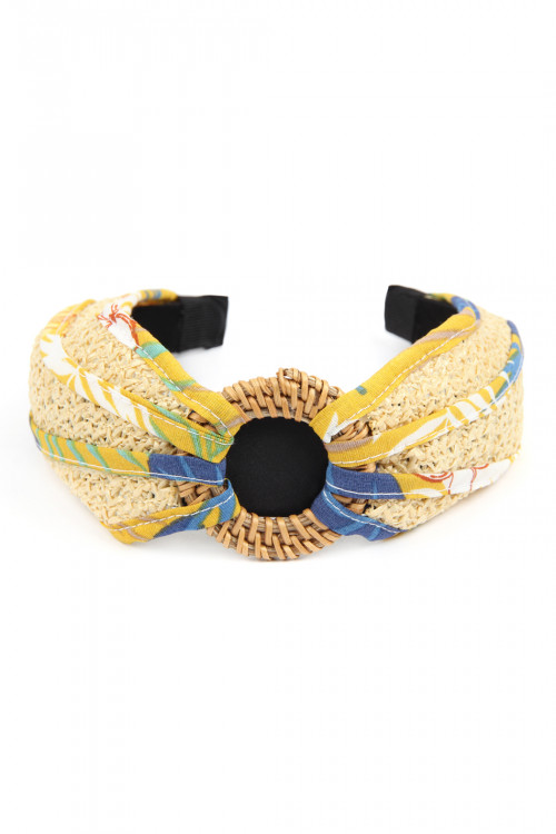 A3-3-2-AHDH2631YW YELLOW KNOTTED RAFFIA WITH FABRIC HEADBAND/6PCS