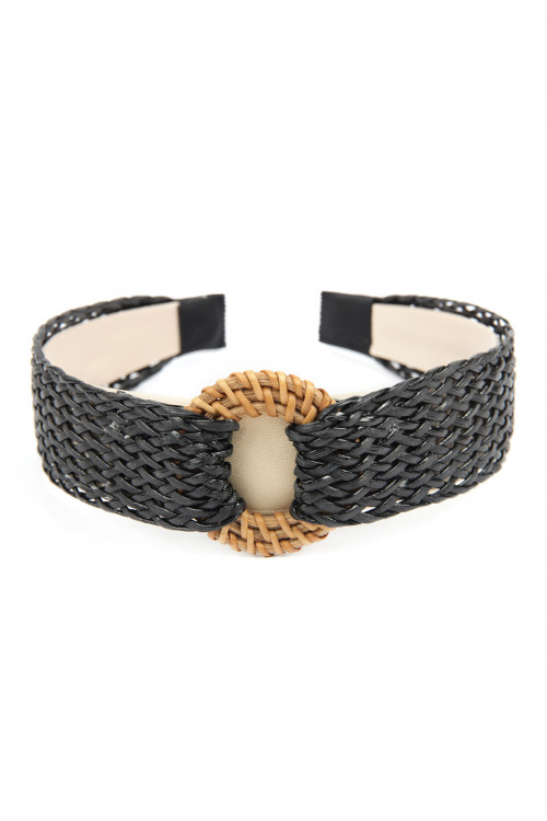 A3-3-2-AHDH2633BK BLACK WEAVED FIBER WITH DISC WEAVED RAFFIA HEADBAND/6PCS