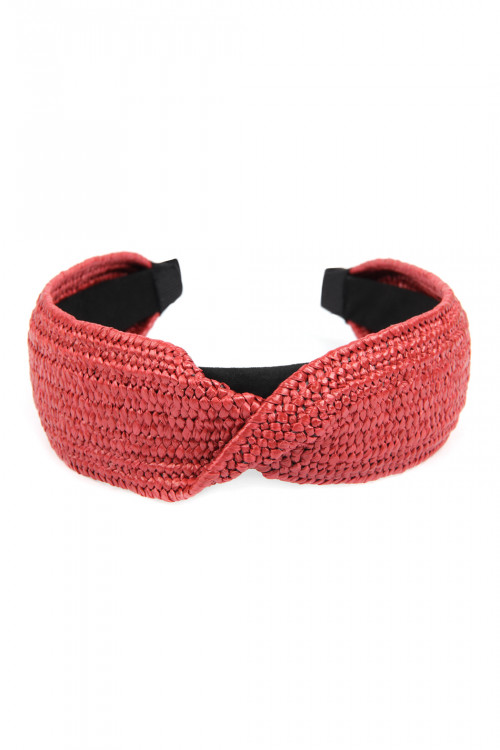 A1-3-1-AHDH2634FS FUCHSIA TWISTED WEAVED FIBER HEADBAND/6PCS
