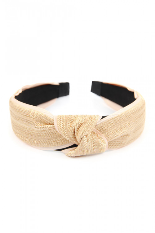 A3-3-3-AHDH2635NA NATURAL KNOTTED LACED FABRIC HEADBAND/6PCS
