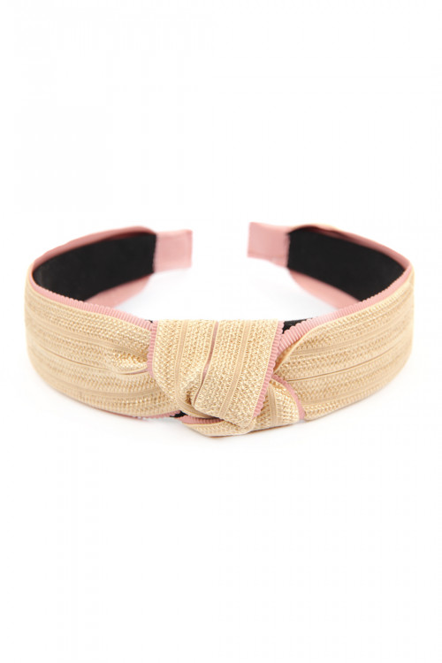 A3-3-3-AHDH2635PK PINK KNOTTED LACED FABRIC HEADBAND/6PCS
