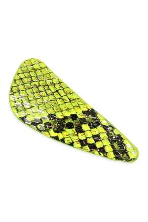 A2-1-2-AHDH2768YW YELLOW ANIMAL SCALE PRINTED HAIR CLIP/6PCS
