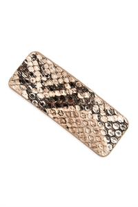 A2-1-2-AHDH2769BR BROWN ANIMAL SCALE PRINTED RECTANGULAR HAIR CLIP/6PCS