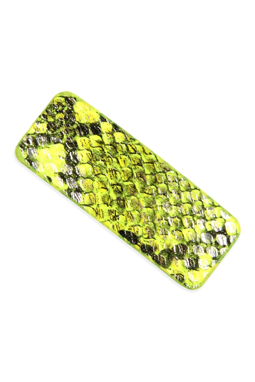 A2-1-2-AHDH2769YW YELLOW ANIMAL SCALE PRINTED RECTANGULAR HAIR CLIP/6PCS