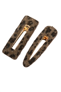 S19-12-2-AHDH2792BR BROWN LEOPARD FURY LEATHER HAIR CLIP/6PCS