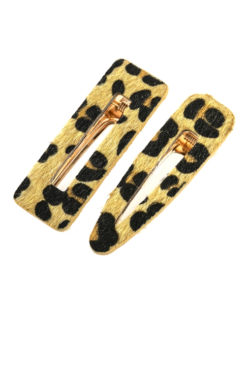 A1-1-2-AHDH2792MU MUSTARD LEOPARD FURY LEATHER HAIR CLIP/6PCS