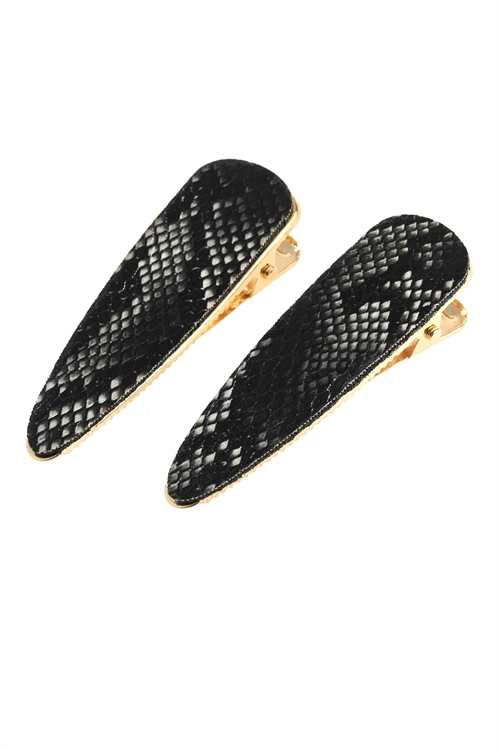 A1-1-2-AHDH2793BK BLACK SNAKE SKIN LEATHER HAIR CLIP/6PCS