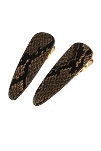 A1-1-2-AHDH2793LBR LIGHT BROWN SNAKE SKIN LEATHER HAIR CLIP/6PCS