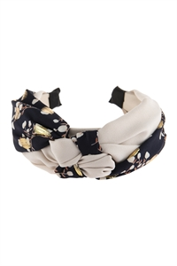 S24-5-4-AHDH2795NV NAVY DOUBLE KNOTTED FABRIC HEADBAND/6PCS