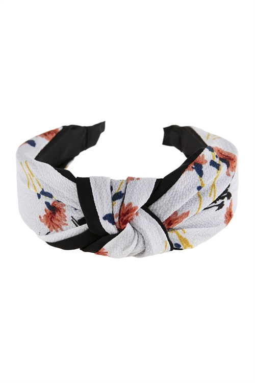A2-3-1-AHDH2799NA NATURAL FLORAL PRINTED KNOTTED FABRIC HEADBAND/6PCS