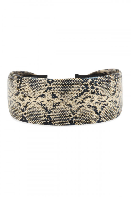 A3-2-2-AHDH2801BR BROWN SNAKE SKIN PRINTED HEADBAND/6PCS