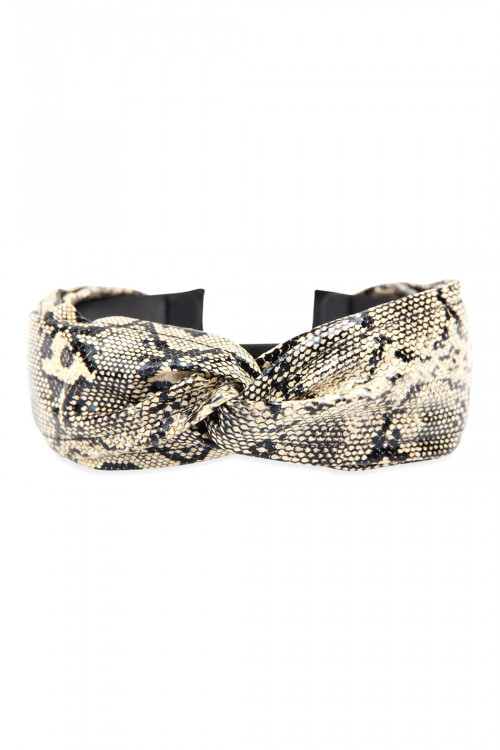 A3-2-2-AHDH2802BR BROWN SNAKE SKIN PRINTED KNOTED HEADBAND/6PCS