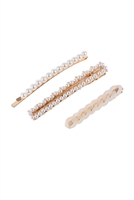 S17-8-5-HDH3159-3 PIECE ACRYLIC PEARL HAIR PIN /6SETS