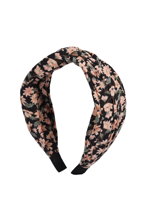 S29-1-3-HDH3252BK-KNOTTED FLORAL FABRIC COATED HEAD BAND-BLACK/6PCS