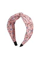 S29-1-3-HDH3252PK-KNOTTED FLORAL FABRIC COATED HEAD BAND-PINK/6PCS
