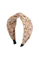S29-1-5-HDH3252YW-KNOTTED FLORAL FABRIC COATED HEAD BAND-YELLOW/6PCS
