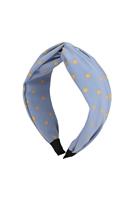 S29-2-5-HDH3253BL-KNOTTED POLKA DOTS FABRIC COATED HEAD BAND-BLUE/6PCS