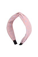 S29-1-5-HDH3253PK-KNOTTED POLKA DOTS FABRIC COATED HEAD BAND-PINK/6PCS