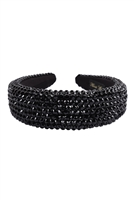 S29-1-4-HDH3297BK-RHINESTONE FABRIC COATED HEAD BAND-BLACK/6PCS