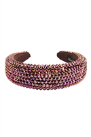 S29-2-2-HDH3297BR-RHINESTONE FABRIC COATED HEAD BAND-BROWN/6PCS